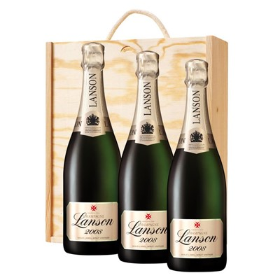 3 x Lanson Gold Label 2008 Vintage Champagne 75cl In A Pine Wooden Gift Box